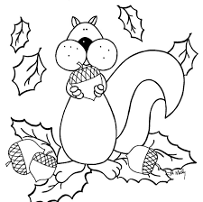 Printable Squirrel Fall Autumn Animals Coloring Pages For Kids