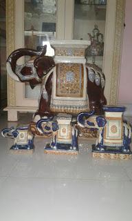 (Jual) Patung Gajah Keramik Barang Antik