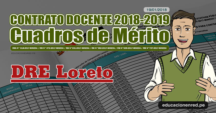 DRE Loreto: Cuadros de Mérito Contrato Docente 2018 - 2019 (.PDF) www.drel.gob.pe