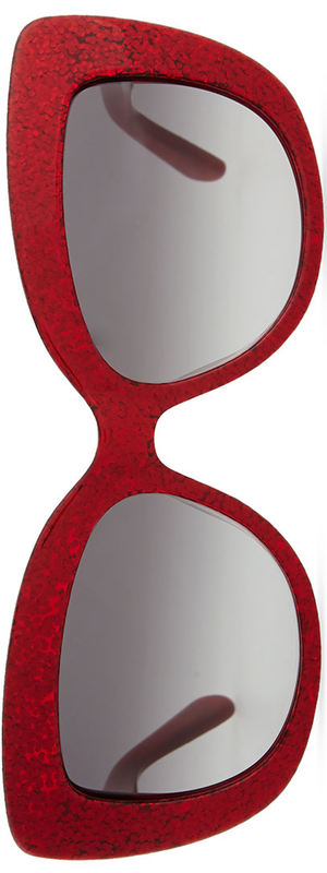 kate spade new york ursula glitter cat-eye sunglasses, red