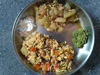 Seeraga samba Veg Biryani, Ash gourd Green gram sprouts curry, Mint chutney, Onion raitha