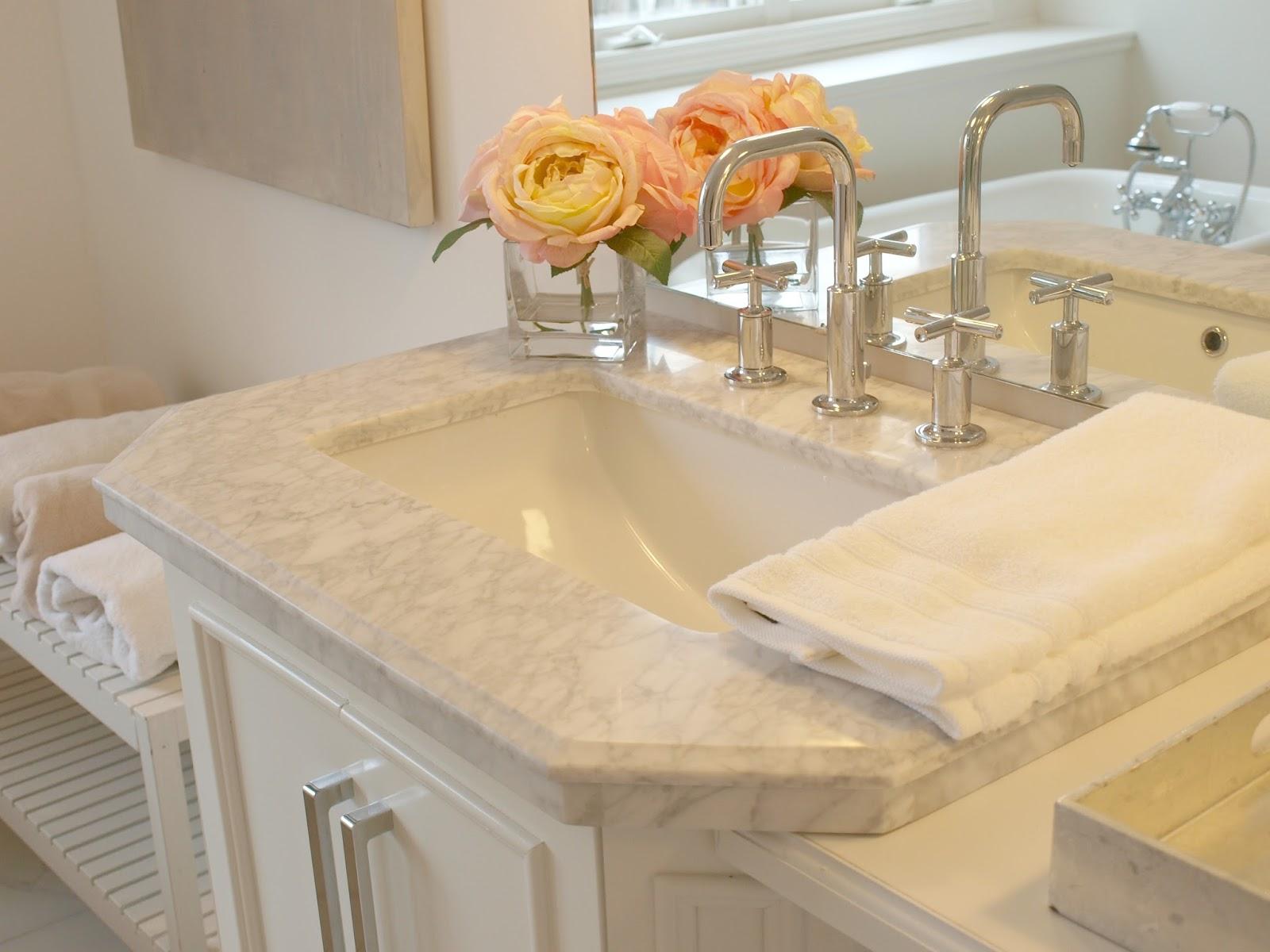 Marble topped vanity in master bathroom - Hello Lovely Studio