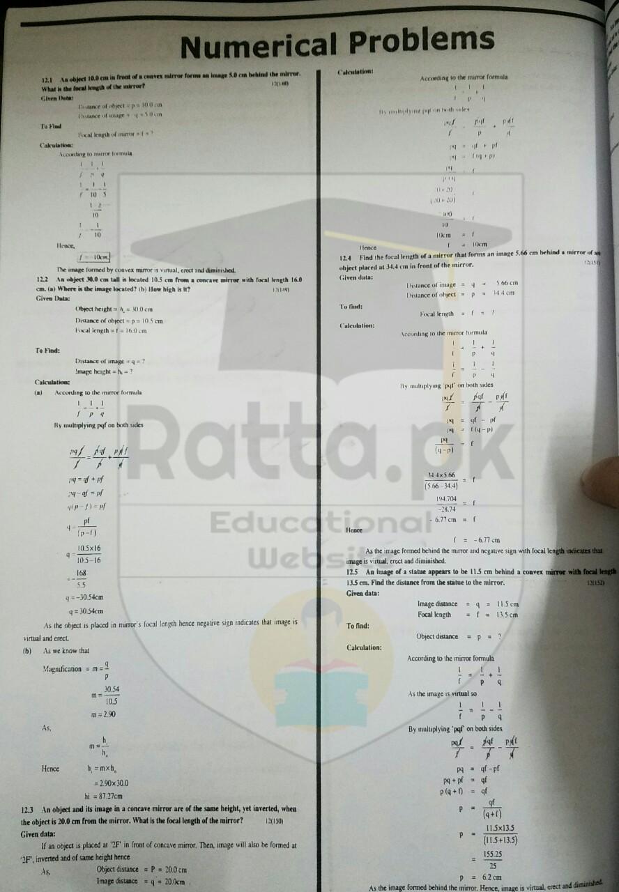 10th Physics Chapter 12 Geometrical Optics Numerical Problems 2