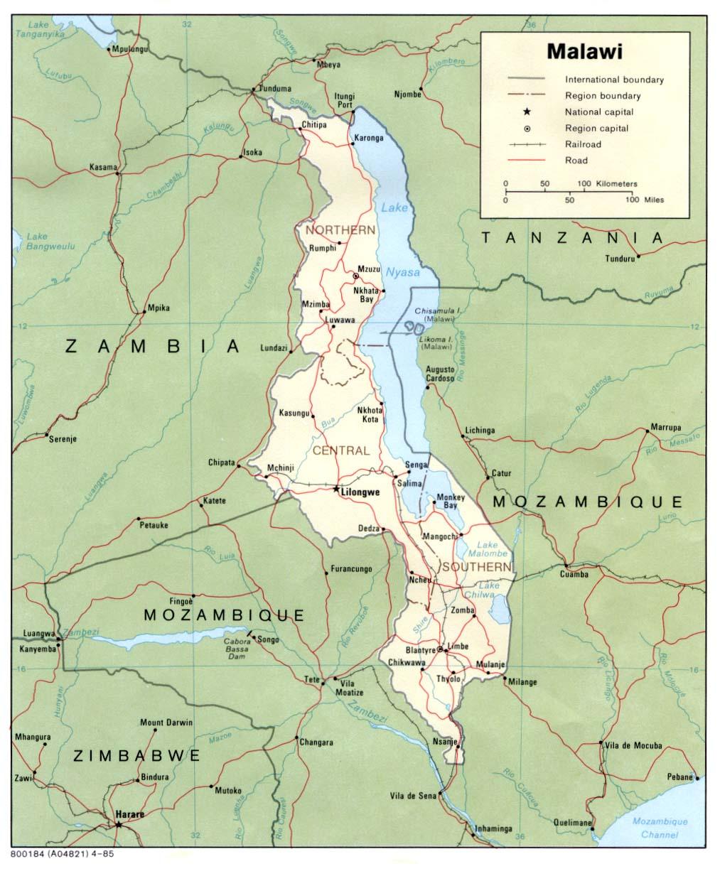 Malawi | Mapas Geográficos de Malawi
