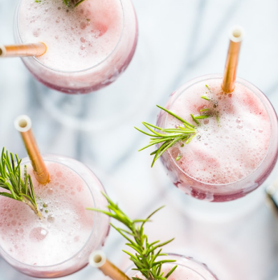 Rosé Raspbery Sorbet Mimosas
