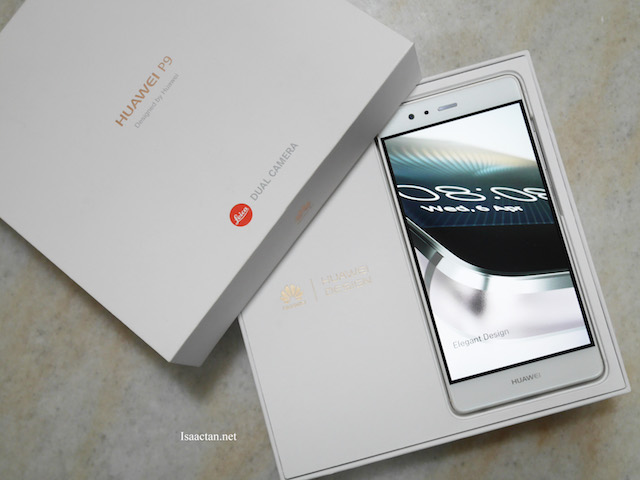 Simple, white packaging houses the Huawei P9