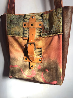 Brown Leather and Fabric Bag