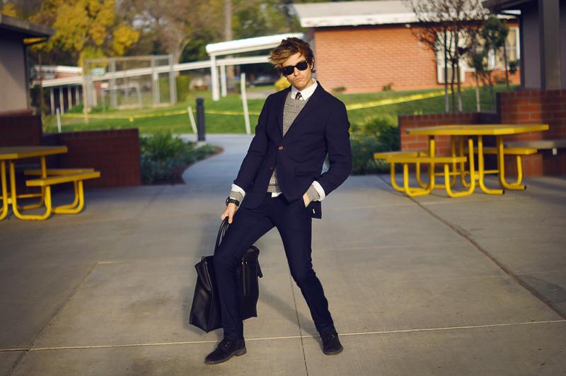 a5a990a9c4 CanvasLandsEnd Blazer Jogunshop trousers Zara boots Coach bag Allsaints  sweater H&M shirt Nordstrom paisley tie Rayban sunnies ArmaniExchange watch