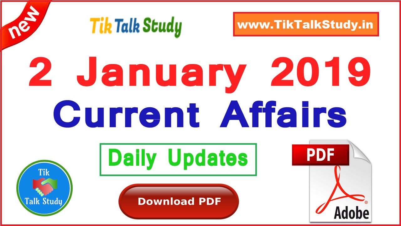 2 January 2019 : Current Affairs In Hindi PDF Download