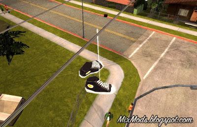 tênis nos fios de eletricidade mod gta