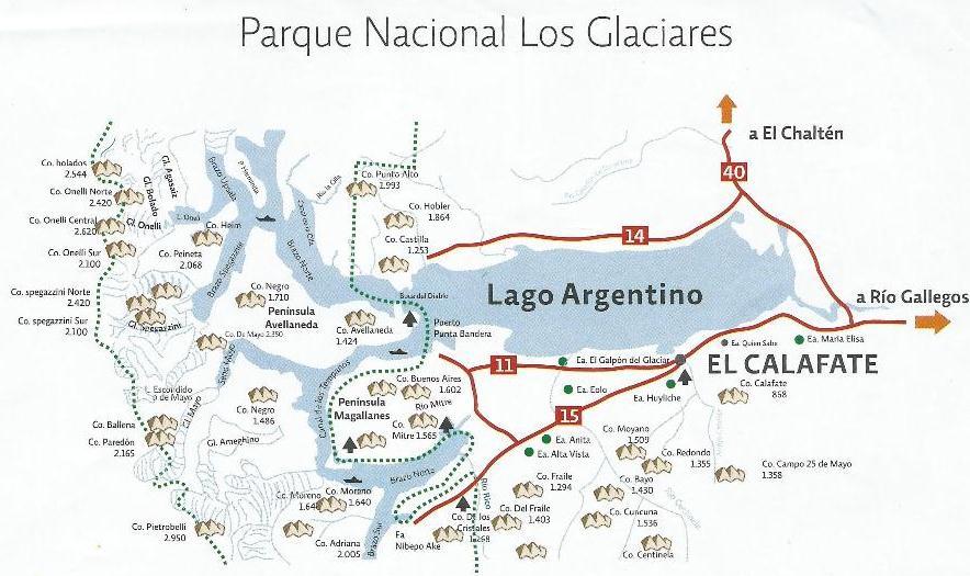 Mapa do Parque Nacional Los Glaciares