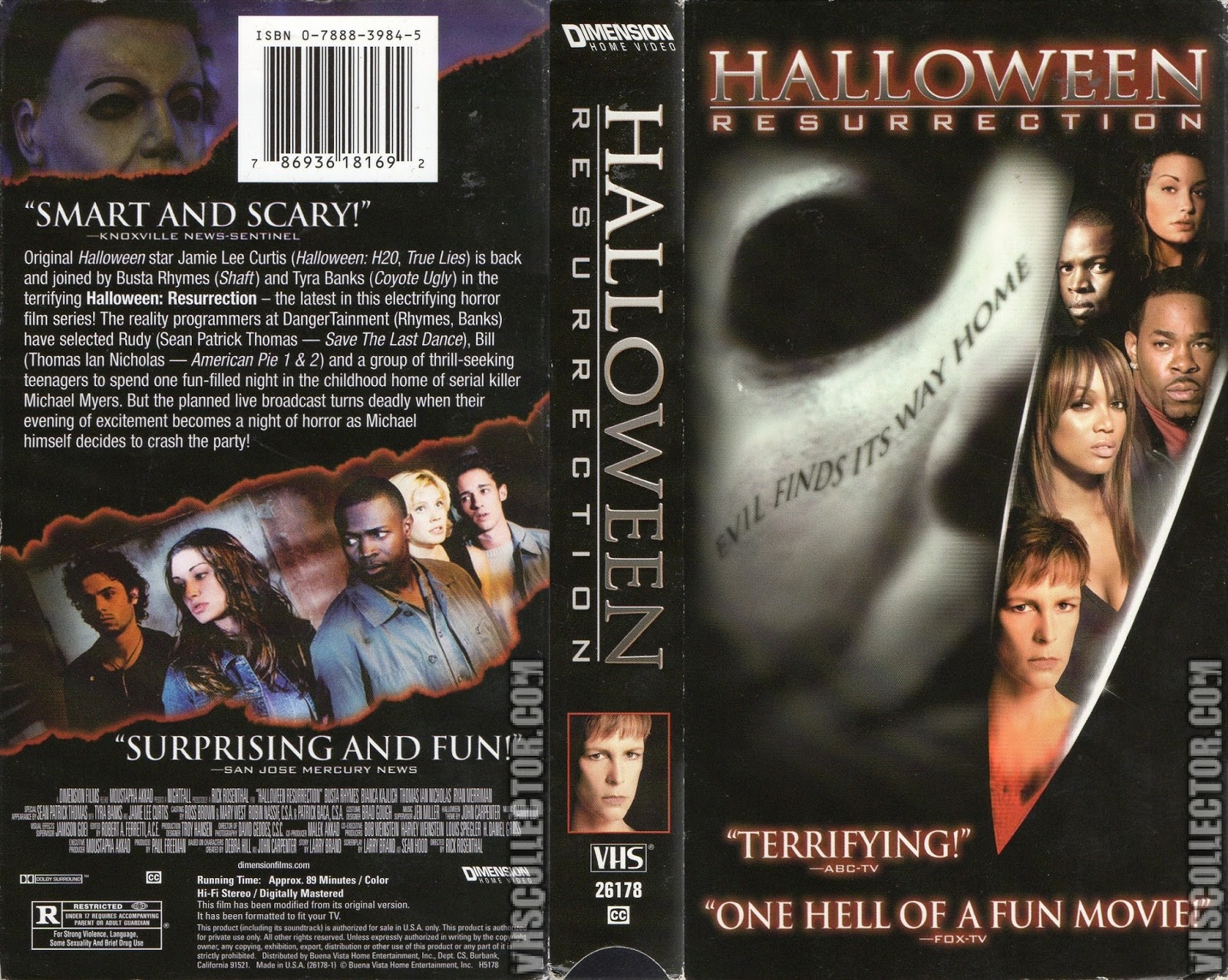 the horrors of halloween: halloween resurrection (2002) vhs, dvd and
