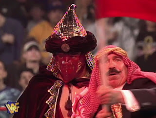 WWF / WWE - Wrestlemania 13 - The Iron Sheik led The Sultan into a match with Rocky Maivia
