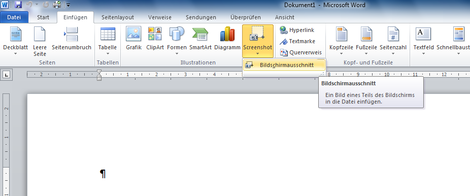 Office - Screenshot einfügen