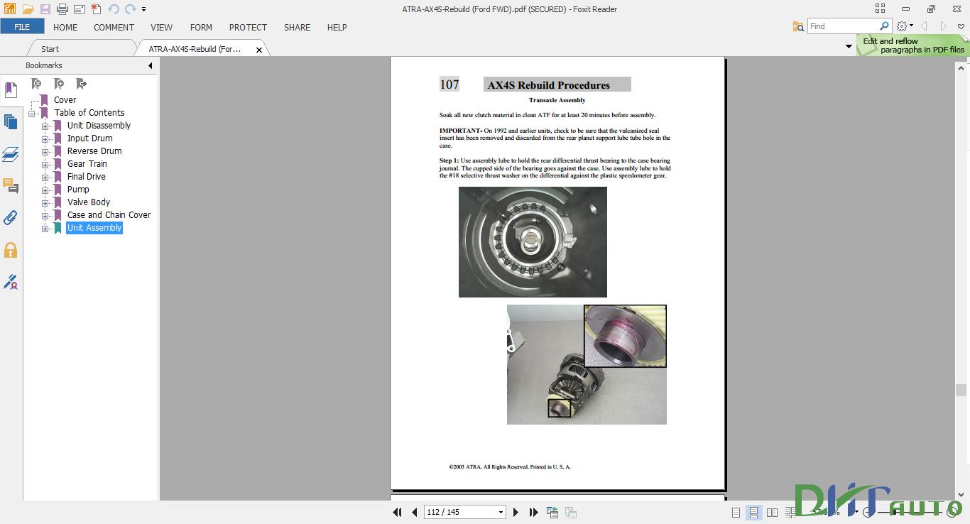 Ford ax4s rebuild Manual