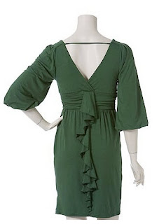 green dress, back dress, v-shape