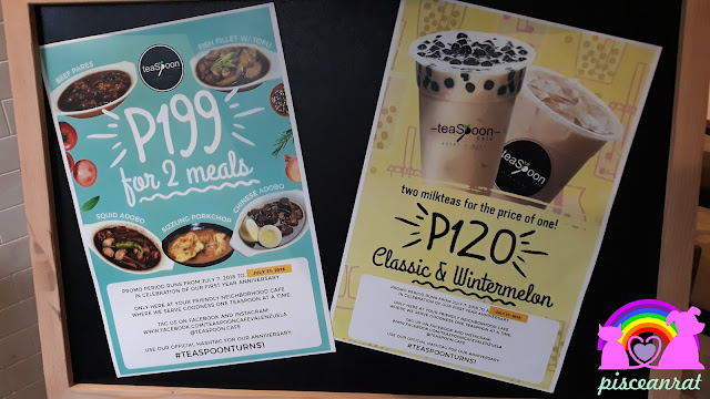 Choose from any 2 meals (comes with rice)- Beef pares, Fish fillet with tofu, Squid adobo, Sizzling porkchop, Chinese adobo, for just Php 199. Avail 2 milk teas for the price of one (Classic and Wintermelon), only Php 120.