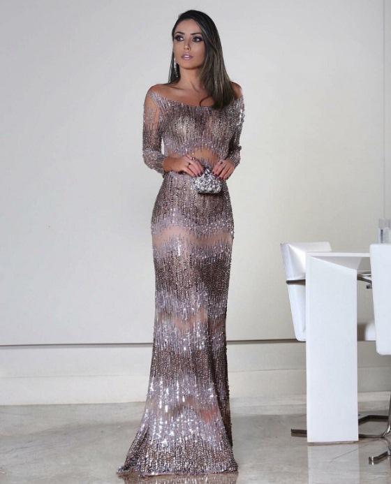 vestido de festa com manga patricia bonaldi