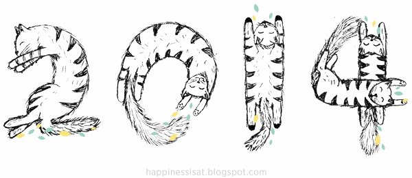 2014 in Cats - hand drawn illustration by fathima at Happiness is...