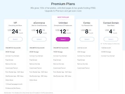 WIX Premium Plans Options