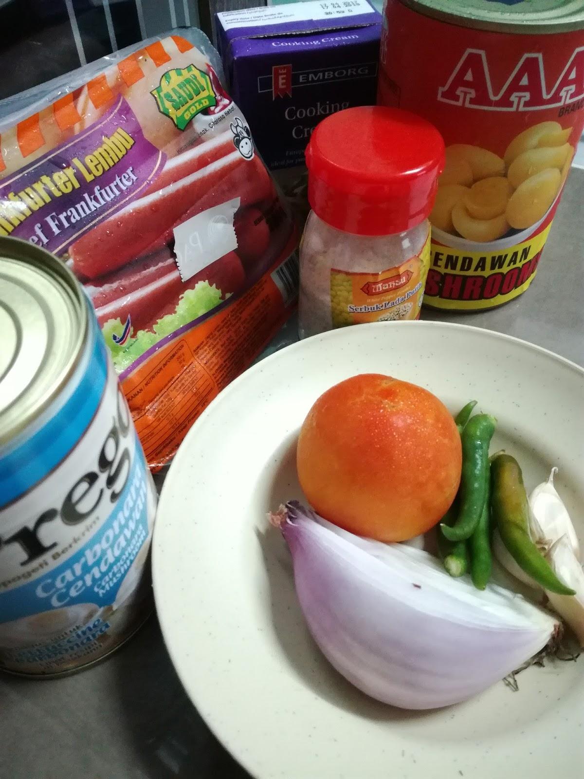 Resepi mudah spaghetti carbonara bersama cili padi pedas terangkat