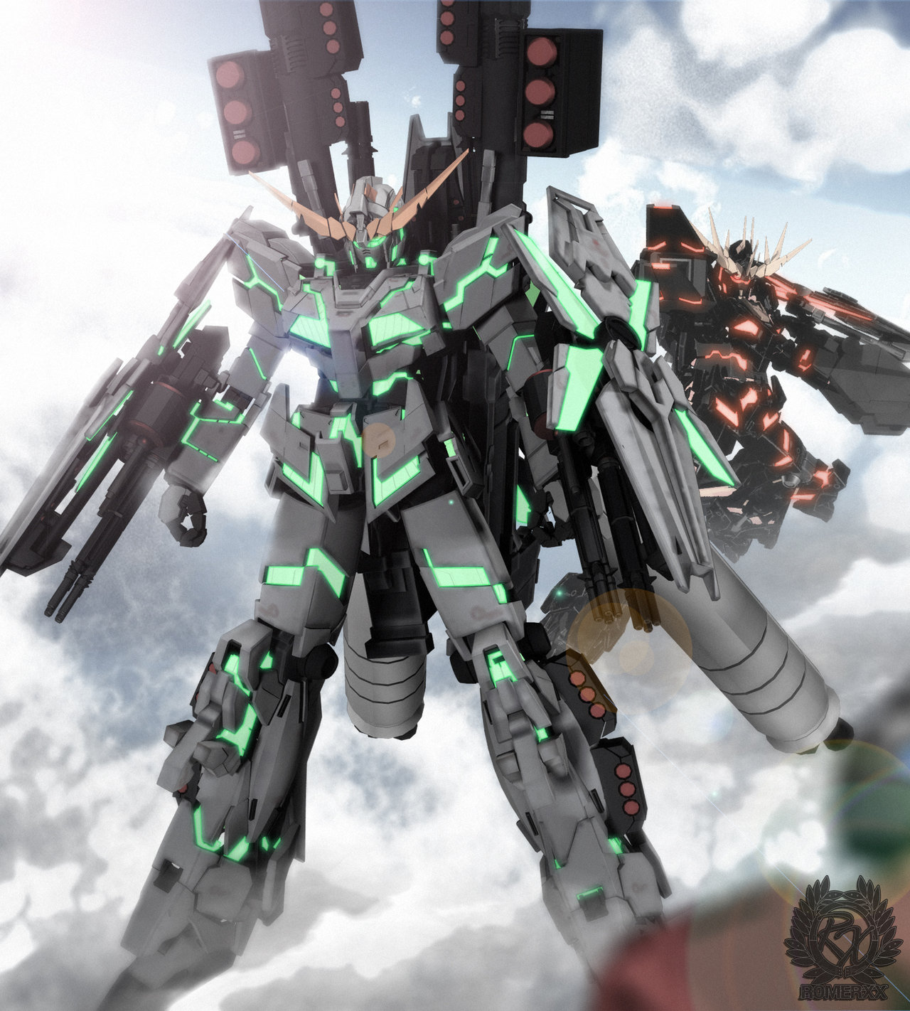 Full Armor Gundam Unicorn and Banshee CG Wallpaper ...