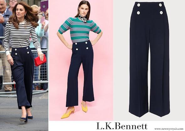 Kate Middleton wore L.K. Bennett Parker Navy Trousers
