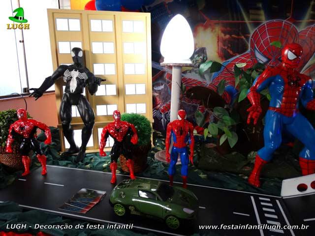 Mesa decorada luxo Homem Aranha - Festa de aniversário infantil