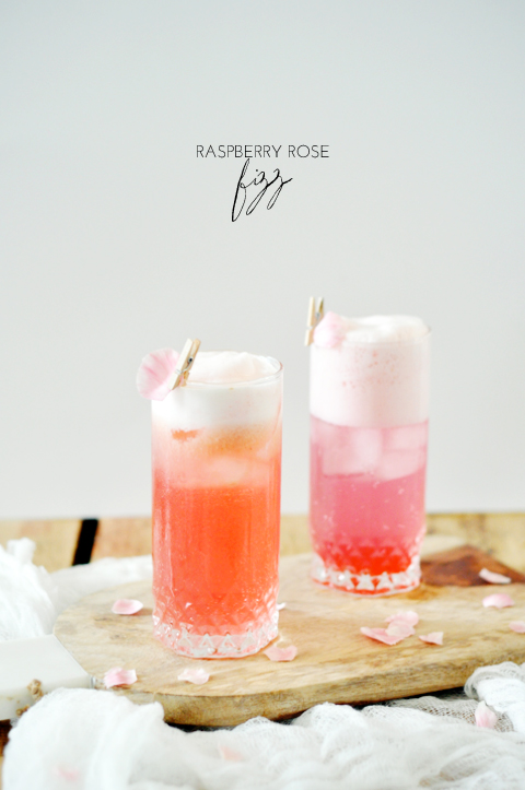 summer cocktails, raspberry rose fizz, raspberry cocktail