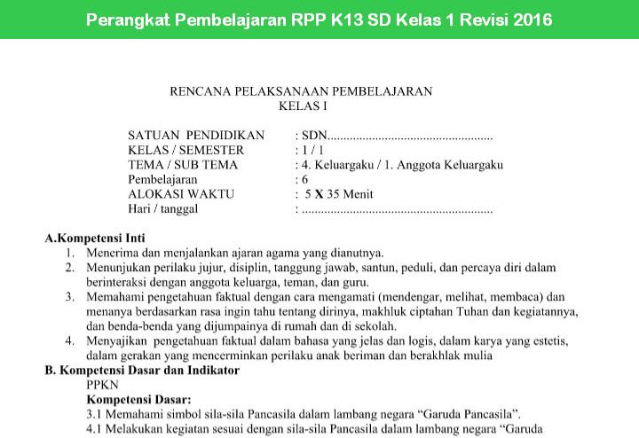 Perangkat Pembelajaran RPP K13 SD Kelas 1 Revisi 2016