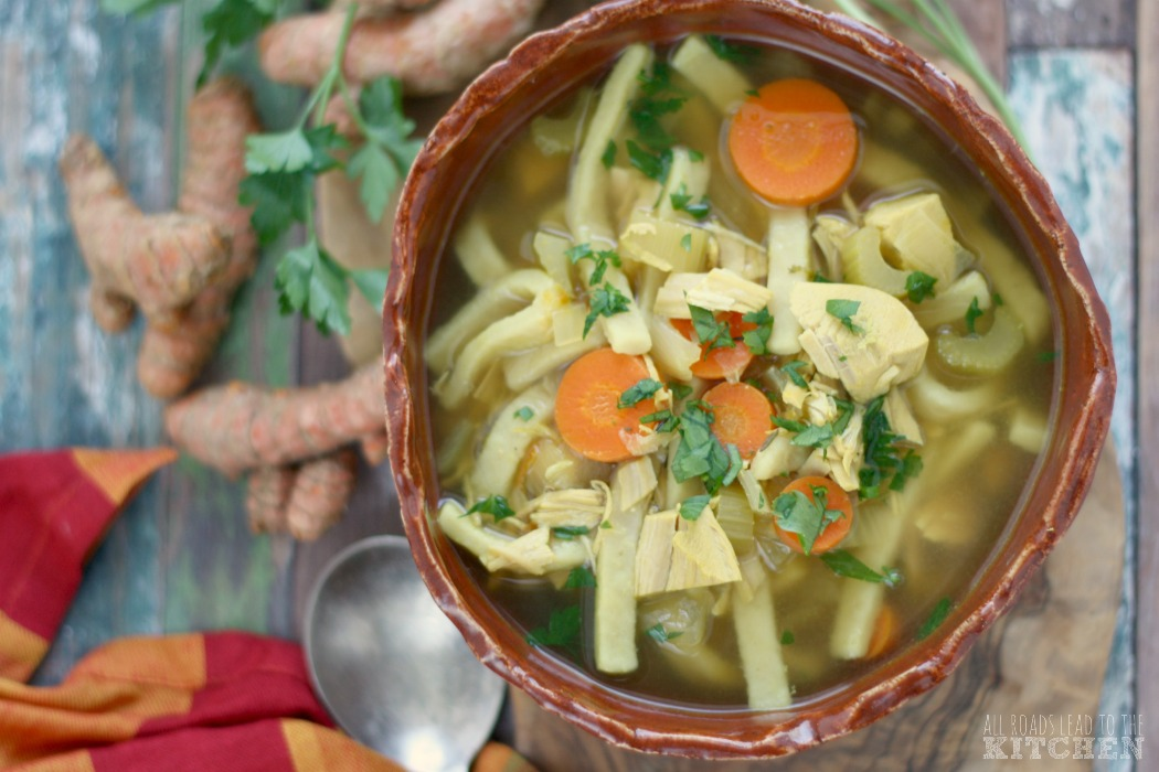 Slow Cooker Turmeric Turkey Noodle Soup