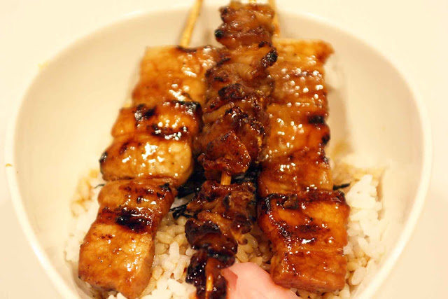 Yakitori One at SM Aura Premier chicken skin and pork butabara