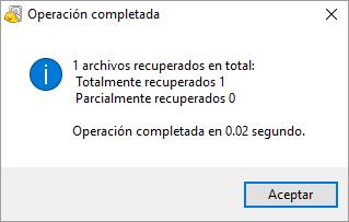 Mensaje de Operación Completada por Recuva