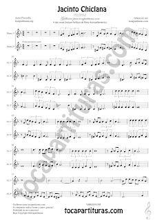 Flauta Travesera, flauta dulce y flauta de pico Partitura a dos voces de Jacinto Chiclana Sheet Music for Flute and Recorder Music Scores