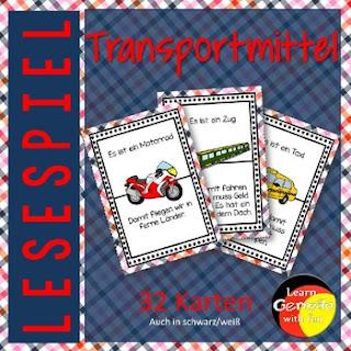 Lesespiel zum Thema Transpormittel. Eine tolle Übung für die Grundschule