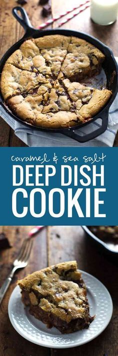 Deep Dish Chocolate Chip Cookie With Caramel And Sea Salt