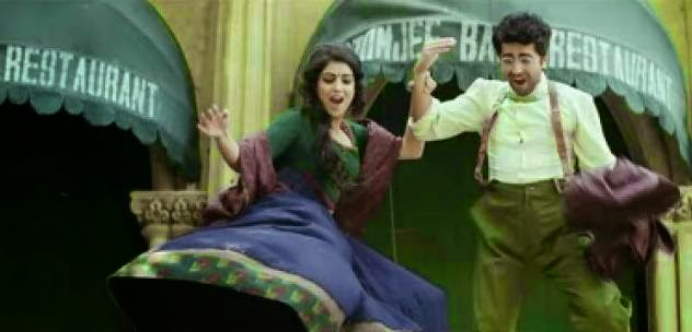 Pallavi Sharda as Sitara and Ayushmann Khurrana as Shivkar Talpade jumping from height in bollywood movie Hawaizaada