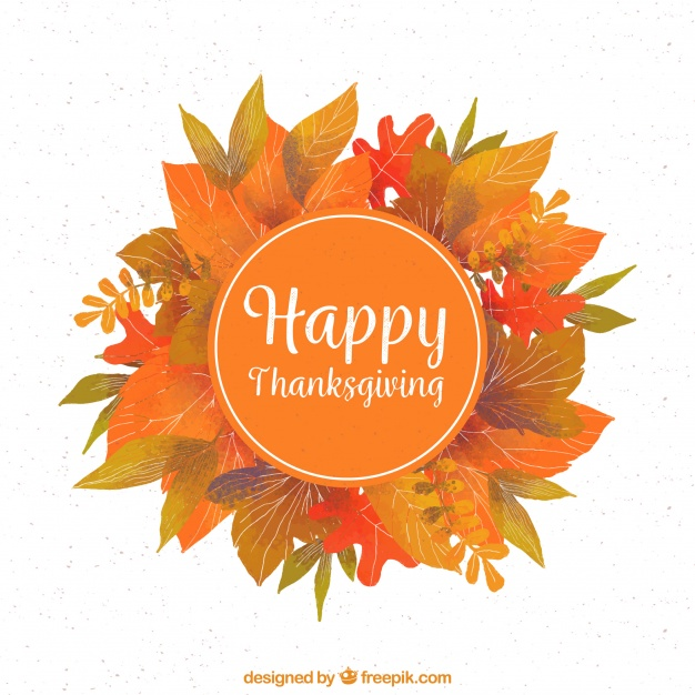 Thanksgiving background with leaves Free Vector