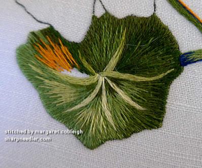 Needlepainted nasturtium leaf with highlight added. (Catherine Laurencon Capucines (Inspirations))