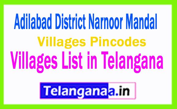 Adilabad District Narnoor Mandal Villages List in Telangana Villages