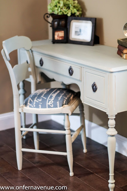 Desk and chair painted using CeCe Caldwell Paint
