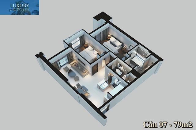 Hình ảnh 3D căn 07 dự án Luxury Apartment