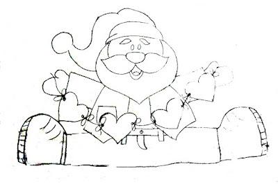 desenho de papai noel com corações para pintar
