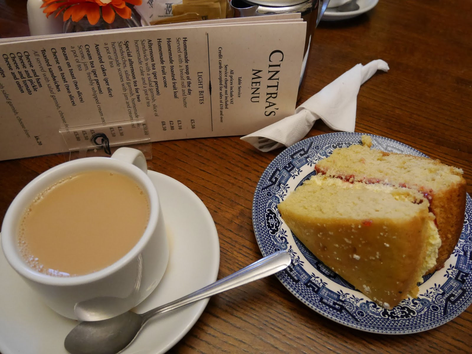 Tea and cake at Cintra's Tearoom in Hathersage, Peak District National Park