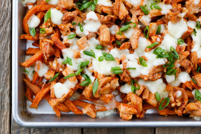 BBQ Chicken and Cheese Curd Fries - get the recipe at barefeetinthekitchen.com