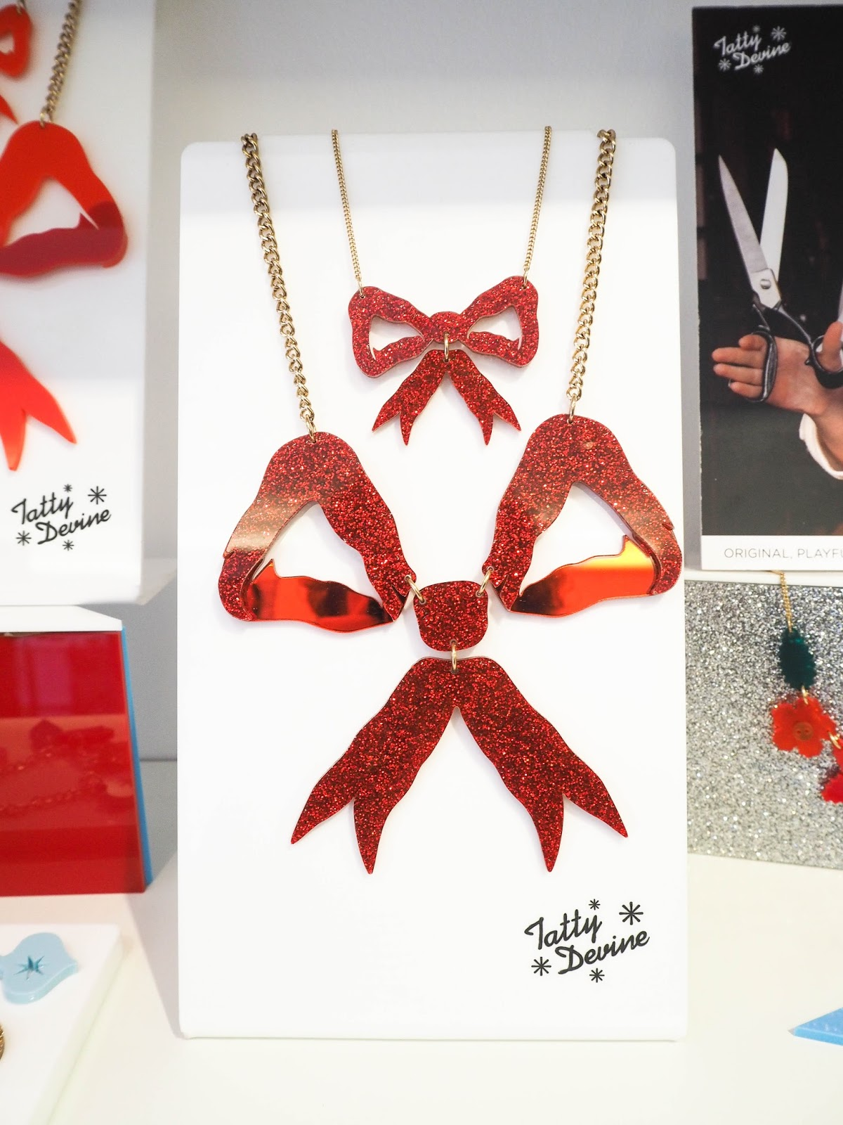Tatty Devine Christmas red bow necklace