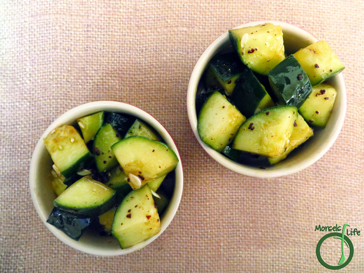 Morsels of Life - Sesame Cucumber Salad - A quick sesame cucumber salad, flavored with sesame oil, enhanced with vinegar, and spiced up with chili flakes.