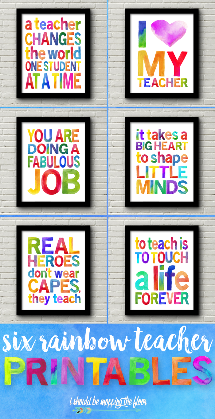 Six Watercolor Teacher Appreciation Printables
