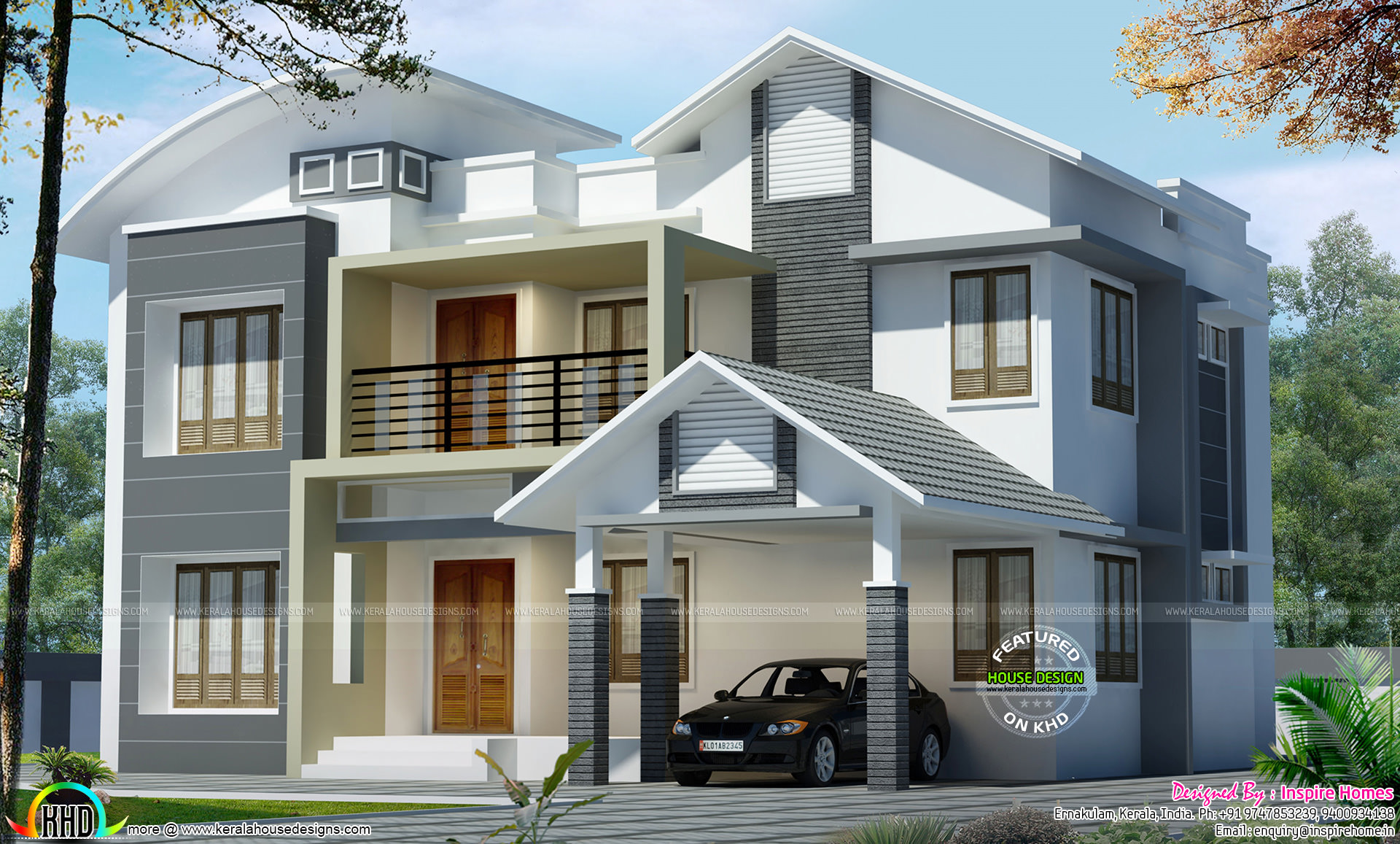Roof Floor Elevation : Curved roof mix modern house kerala home design and
