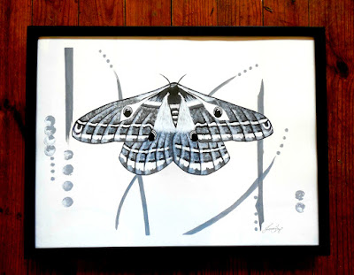 The Multifarious Paths of the Emperor Moth - Original Contemporary Black and White Painting
